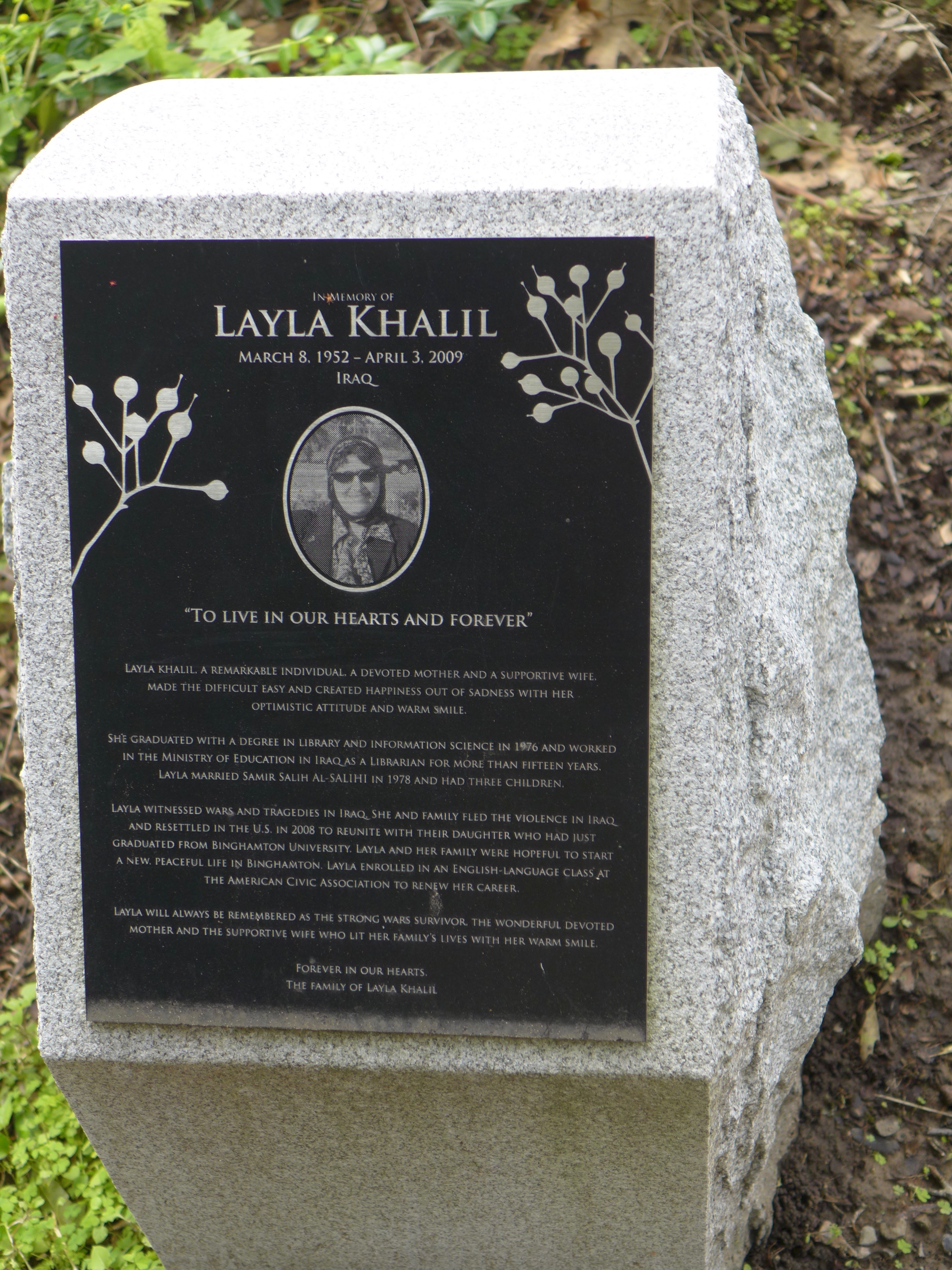 Memorial stone: Layla Khalil / Iraq