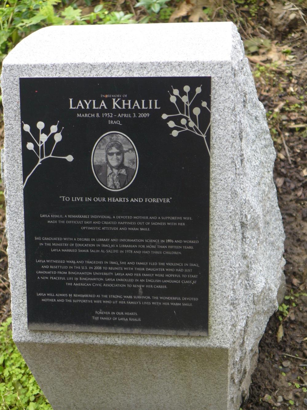 Memorial stone: Layla Khalil / Iraq
