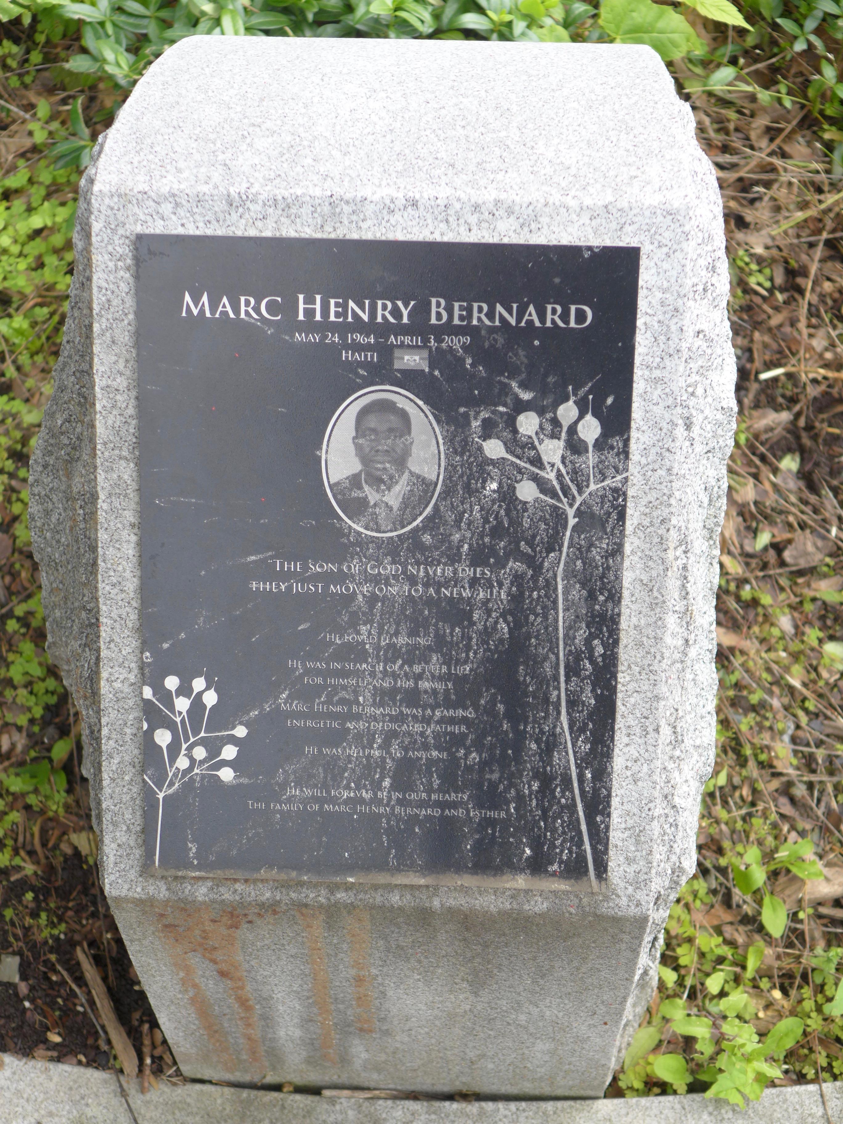 Memorial stone: Marc Henry Bernard / Haiti