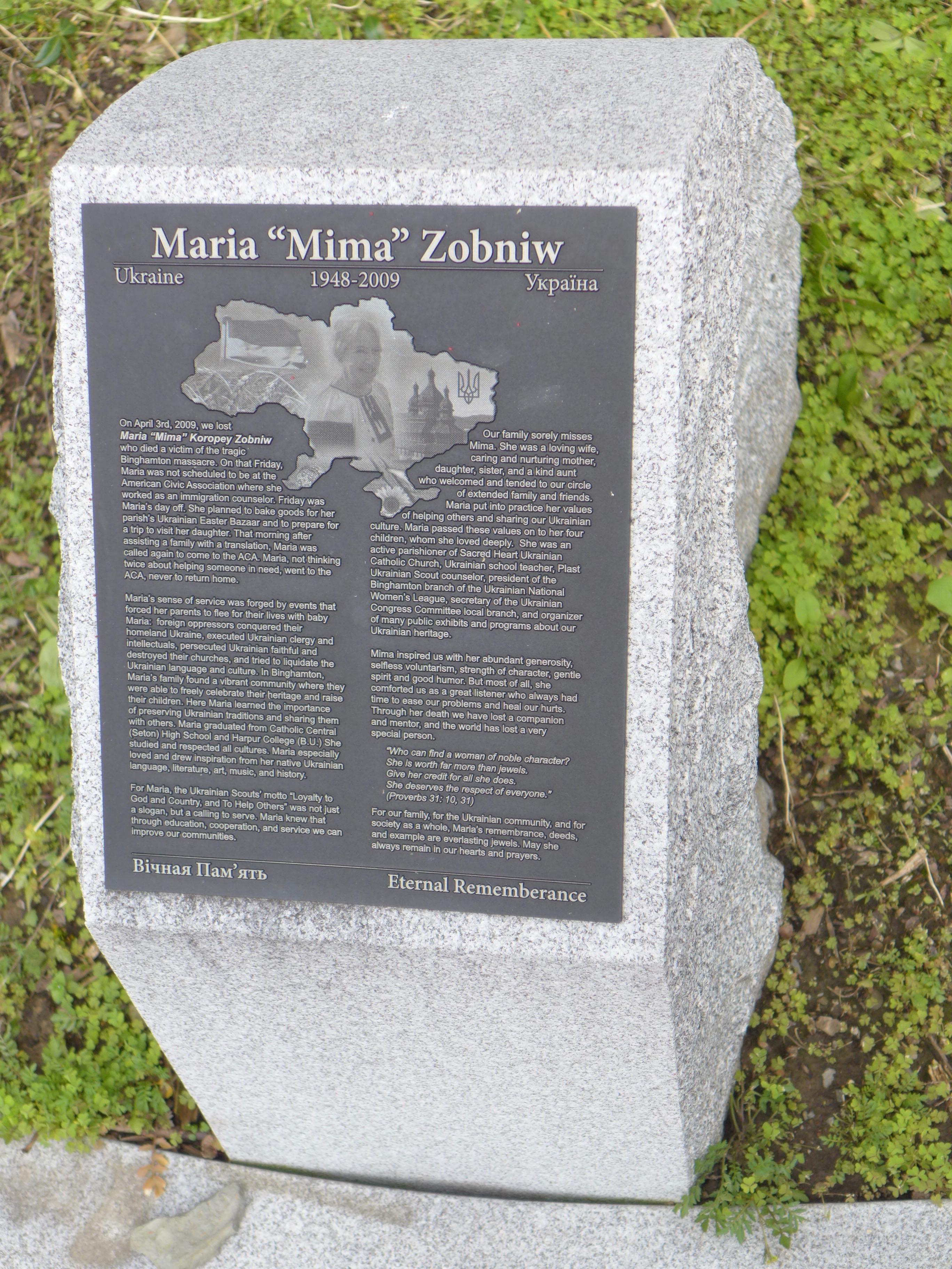 """Memorial stone: Maria """"Mima"""" Zobniw / Ukraine"""