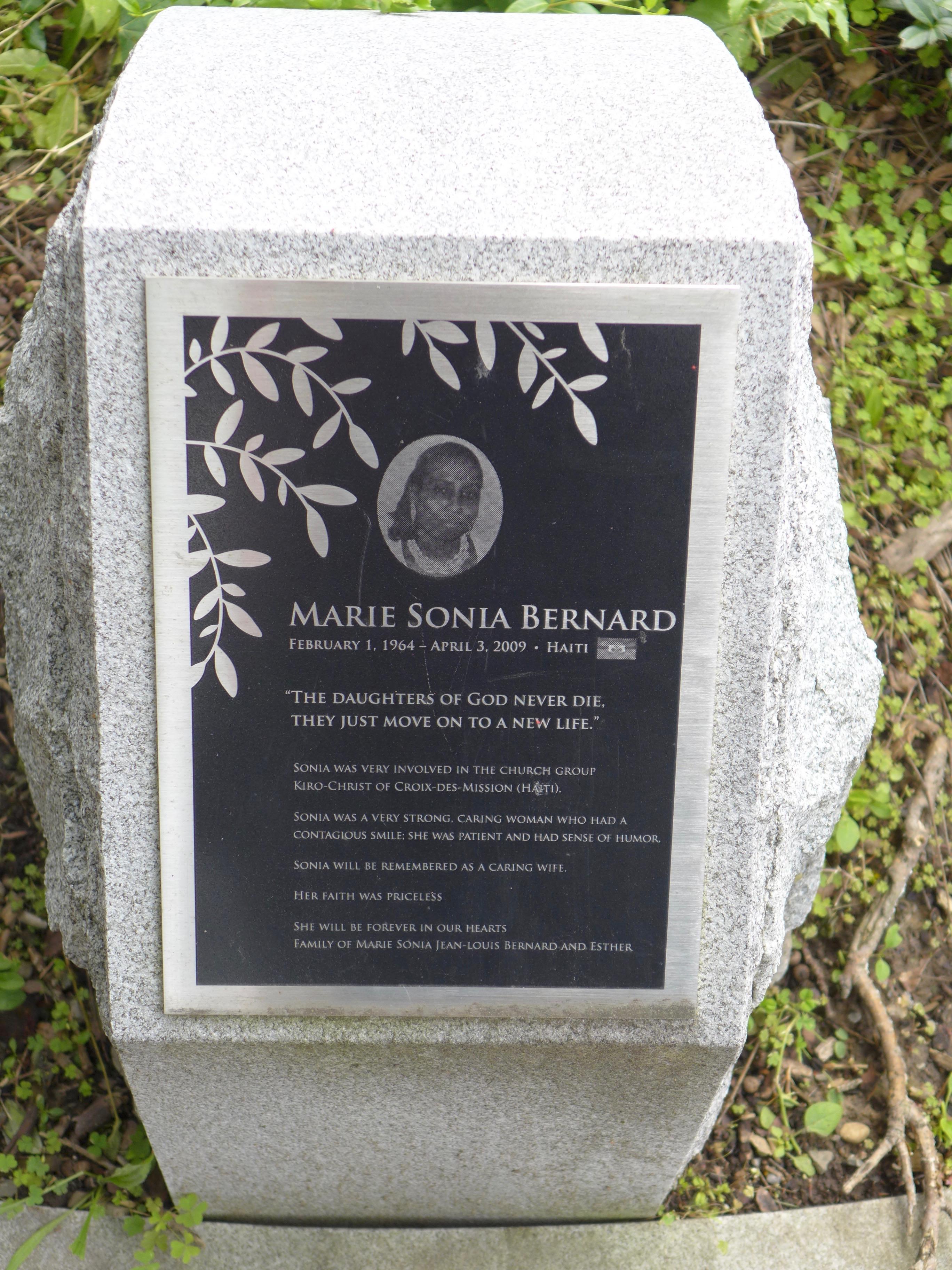 Memorial stone: Marie Sonia Bernard / Haiti