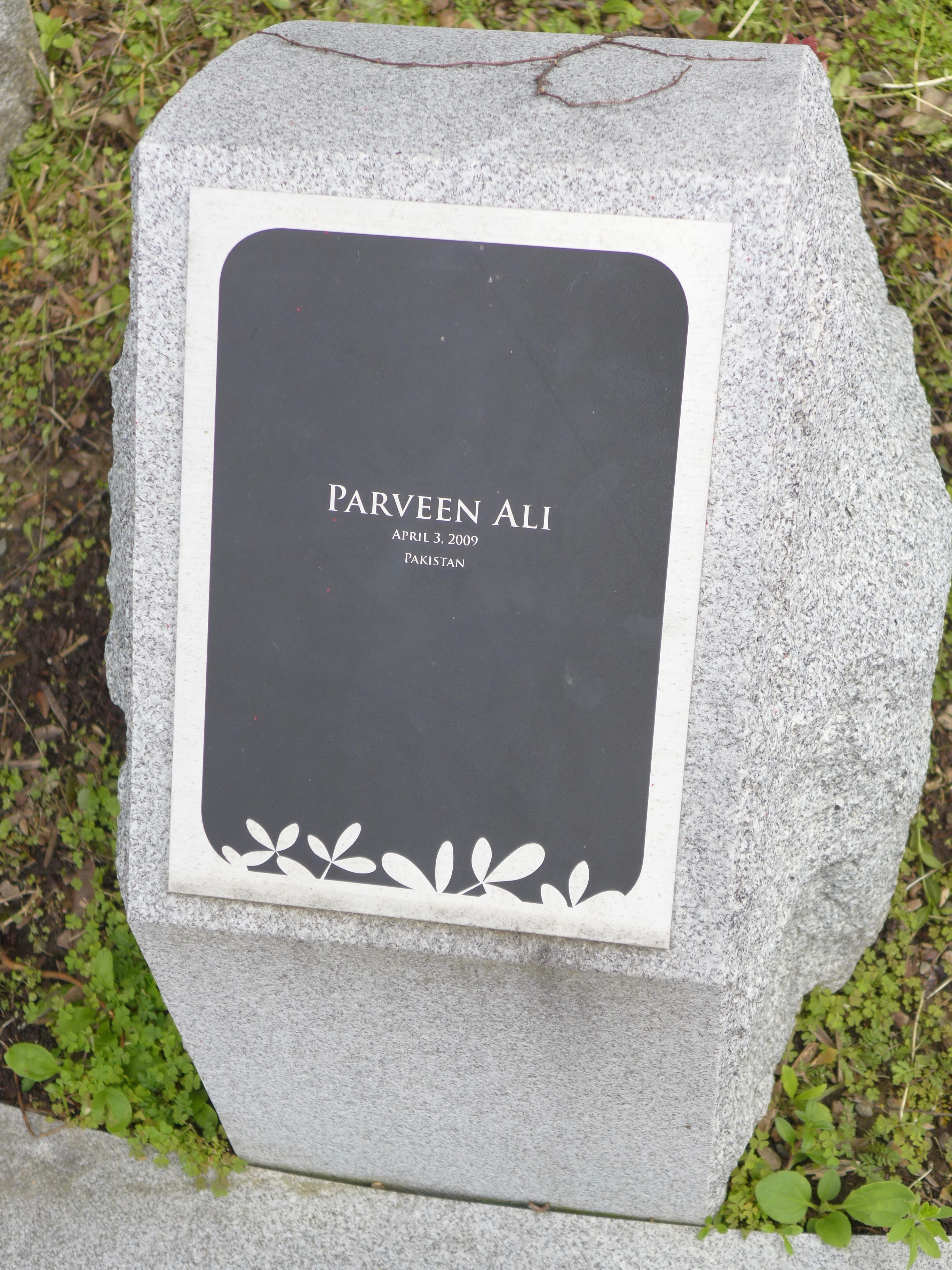 Memorial stone: Parveen Ali / Pakistan