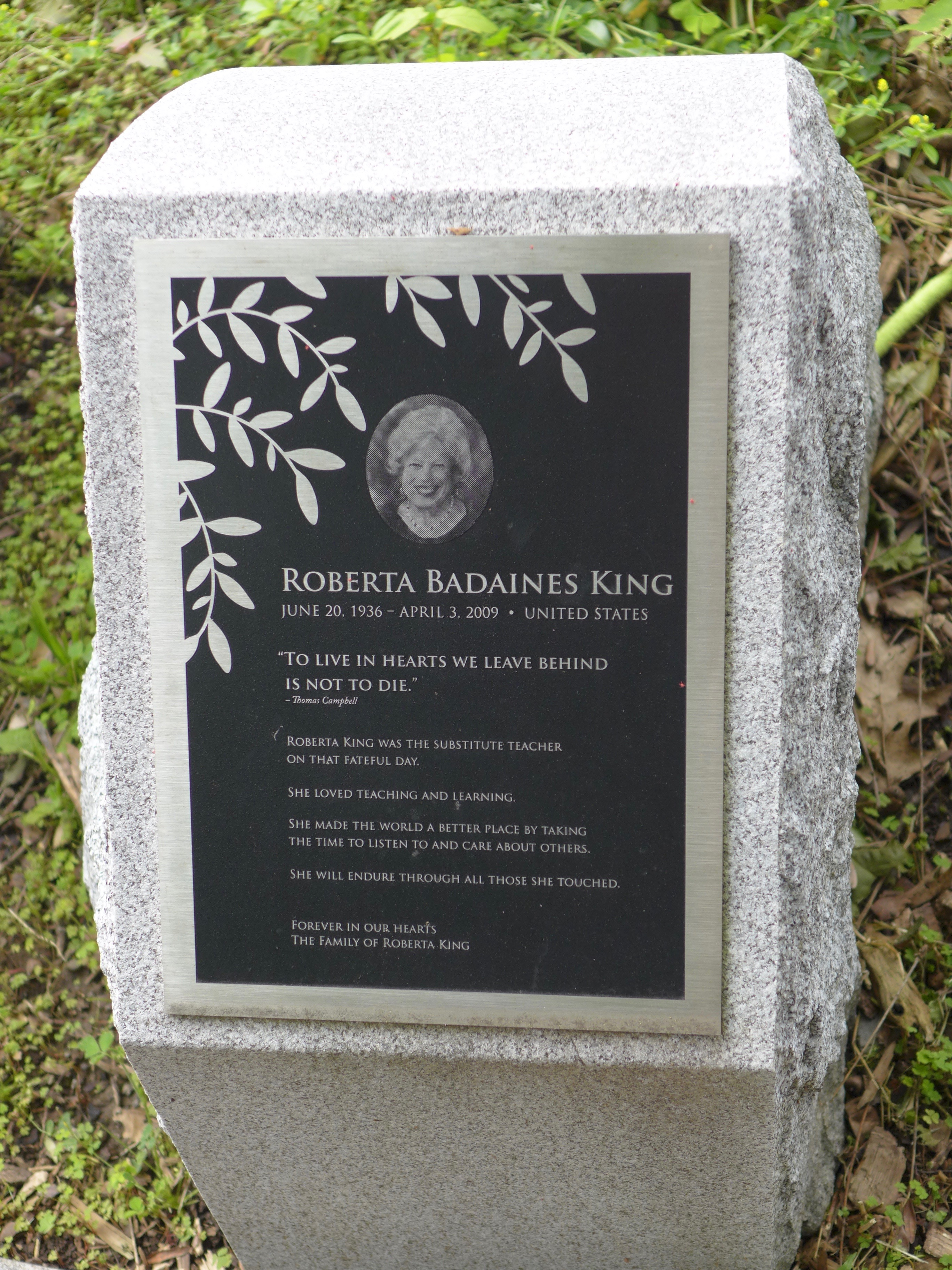Memorial stone: Roberta Badaines King / United States
